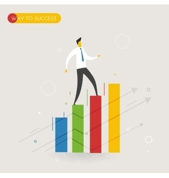 Businessman climbing graph career success vector