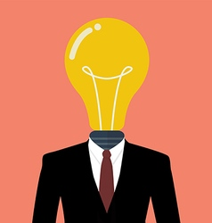 Businessman with a light bulb instead of head vector image