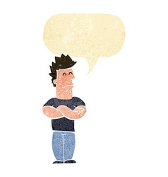 Cartoon sulking man with speech bubble vector