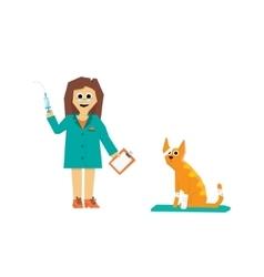 Cartoon Veterinarian with a Cat vector image
