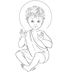 Child jesus seated cartoon coloring page vector