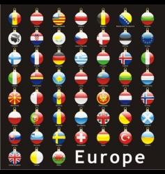 Christmas bulbs Europe flags vector image