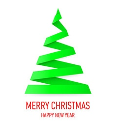 Christmas tree made of folded paper origami 03 vector image