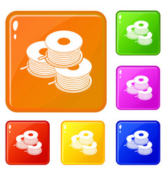 Coil for d printer icons set color vector