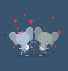 color background with couple of elephants dancing vector image