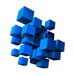 Composition blue 3d cubes vector