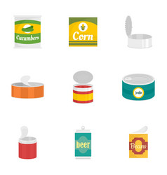conserve food icon set flat style vector image