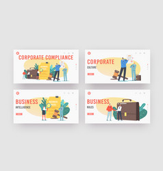 Corporate compliance rules landing page template vector