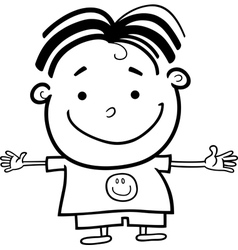 Cute Little Happy Boy for Coloring vector
