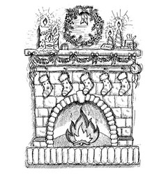 Drawing of fire place with christmas decorations vector