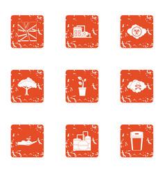 Fabrication icons set grunge style vector
