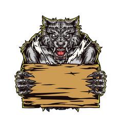 Ferocious werewolf holding blank wooden board vector