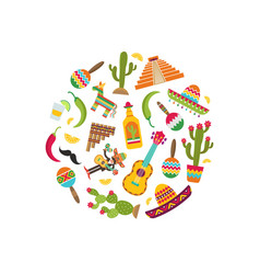 Flat mexico attributes in circle shape vector