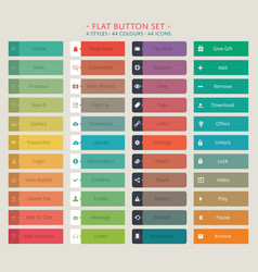 Flat web button set vector