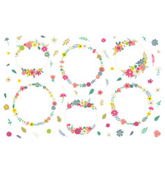 flowers and wreaths for invitations vector image