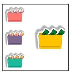 folder and cash collection in vector image