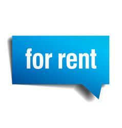 For rent blue 3d realistic paper speech bubble vector