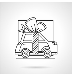 Gift car line icon vector