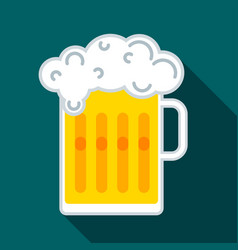 glass beer mug with beer and a cap of white fluffy vector image
