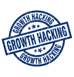Growth hacking blue round grunge stamp vector