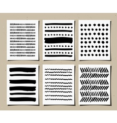 hand drawn patterns greeting cards set vector image