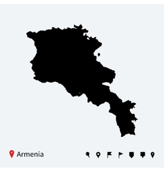 High detailed map of Armenia with navigation pins vector image