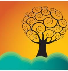 hills tree vector image
