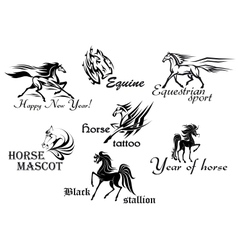 Horses stallions and mustangs vector image
