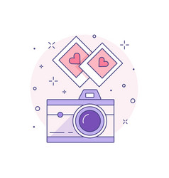 Instant photo camera icon in line art vector