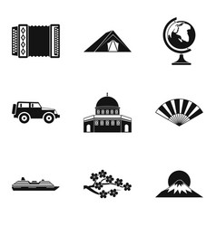 international journey icons set simple style vector image
