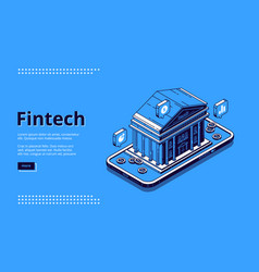 landing page financial technologies fintech vector image
