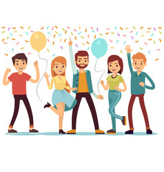 laughing and dancing young people at party happy vector image