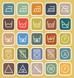 Laundry line flat icons on yellow background vector