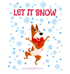 let it snow cartoon jumping dog in red scarf vector image
