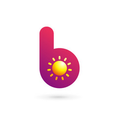 Letter b sun logo icon design template elements vector