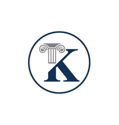 Letter k and law pillar logo design column logo vector