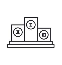 Line olympic pedestal winner award icon vector