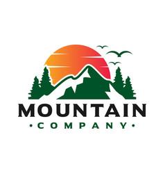 logo design sunset views on mountain vector image