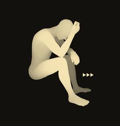 man thinks about a problem despair depression vector image