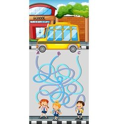 Maze game with students and school bus vector image