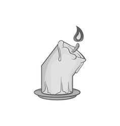Melting candle icon black monochrome style vector