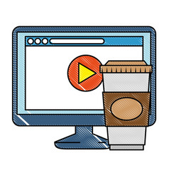 Monitor computer with webpage and coffee vector
