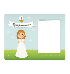 My first communion invitation with notes space vector