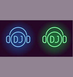 neon dj sign in blue and green color vector image