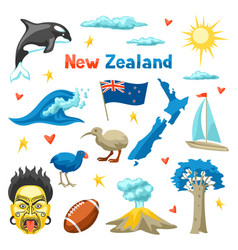 New zealand icons set vector