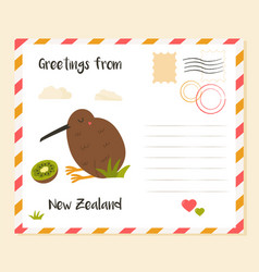 New zealand postcard with kiwi bird and fruit vector
