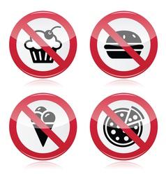 No fast food no sweets warning red sign vector