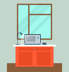 Office interior with laptop on table vector
