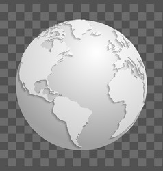 Origami white paper world globe isolated on vector