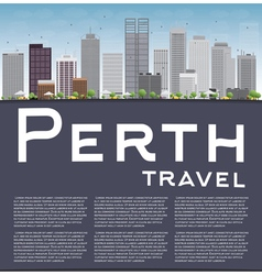 Perth skyline with grey buildings blue sky vector